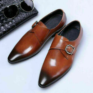 Mens Business Oxfords Loafers Buckle Dress Shoes Pointed Toe Leather Slip On