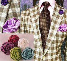 Set of (5) Men's Rose Lapel Pins - Red, Purple, White, Green, Blue