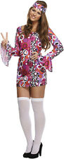 Ladies Hippie Fancy Dress Hippy Costume Womens 70s 60s