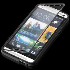 HTC One m7 Touch case bolso funda estuche protección cáscara negro a9