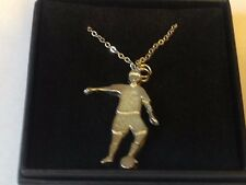 "Football Control GT5 Pewter On 18"" Silver Plated Curb Necklace"