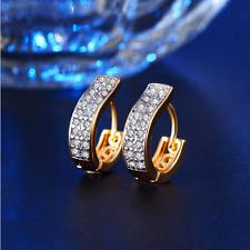 18K Yellow Gold Filled GF 3MM Made With Swarovski Crystal Huggie Hoop Earrings