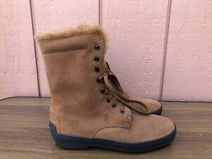 RARE EUC TOD'S 37.5 US 7.5 Brown Suede Combat Lace-up Fur Winter Gomini Boots CZ