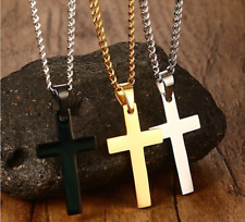 Gold Silver Black Blue Stainless Steel Jesus Cross Pendant Cuban Chain Necklace