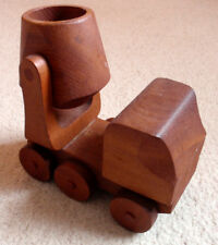 VINTAGE WOODEN PUSH CEMENT MIXER VEHICLE TOY - 1970S / 1980S - USED