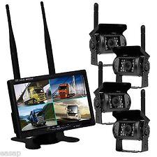 """7"""" Wireless Quad 4Ch Digital Car Monitor+4x IR Backup Rearview Truck CCD Camera"""