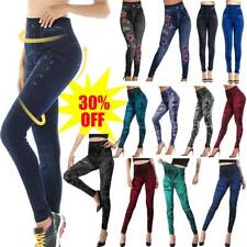 Women Denim Look Stretchy Leggings Skinny Jeggings Jeans Look Trousers Ladies