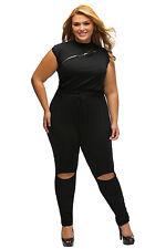 Jumpsuit Black Sexy ZipDetail Slashes Plus Size Womens Catsuit Bodysuit XXXL New