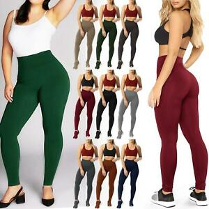 NEW LADIES HIGH WAIST LEGGINGS TUMMY CONTROL YOGA FITNESS SPORTS GYM TROUSERS