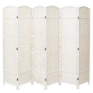 White Folding Panel Screen 6 Panel Wicker Room Divider Privacy Protector Wall UK