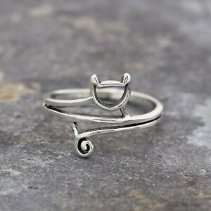 Plain 925 Sterling Silver Curled up Cat Ring Jewellery