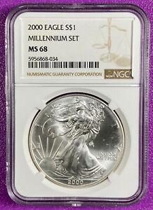 2000 $1 1oz American Silver Eagle Millennium Set NGC MS68 ***Milk Spots (034)