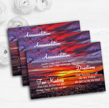 Beautiful Purple Sunset Beach Personalised Wedding Guest Information Cards