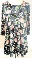 TU Women's Top Tunic Blue Green Size 14 Floral Casual Jersey VGC