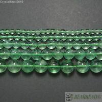 "Grade AAA Natural Green Fluorite Gemstone Round Beads 4mm 6mm 8mm 10mm 12mm 15"""