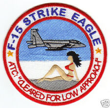 "F-15 STRIKE EAGLE PATCH,  ""LOW APPROACH"" GIRL IN RED BIKINI ON THE BEACH,      Y"