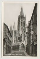 Cornwall postcard - Truro Cathedral from St Mary's Street - RP (A2113)