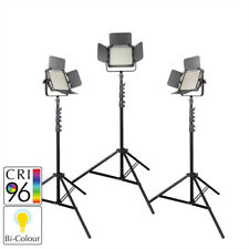 BiColour LED Panel Video Dimmable Lighting Three Head Kit with Stands Interview