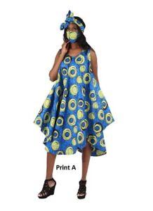 African Print Umbrella Dress Set with Matching Mask