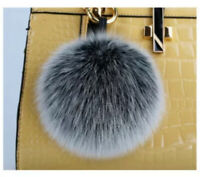 Charming 10cm Real Fox Fur Pom Pom Keychain Bag Charm Gold Ring Fluffy Fur Ball
