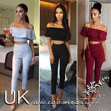 UK Womens 2 Piece Crop Top Jumpsuit Ladies Sleeveless Cut Out Playsuit Size 6-12
