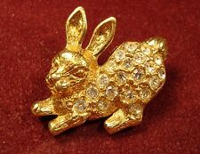 "Gold Tone ""Avon"" Bunny Pin with Rhinestones on Body (157)"