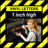 6 Characters 1 inch (25mm) high pre-spaced stick on vinyl letters and numbers