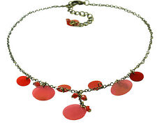 & Romantic Red Circle Drops (Zx2) Cool Contemporary Gold Tone Chain Necklace