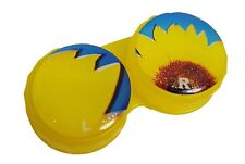 Yellow Sunflower Flat Contact Lens Storage Soaking Case - L+R Marked - UK Made