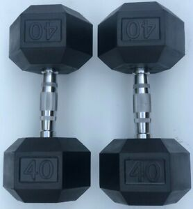 BRAND NEW 40LB PAIR OF RUBBER COATED HEX DUMBBELLS WEIGHTS FOR COMMERCIAL GYM
