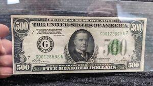 $500 HUNDRED DOLLAR FEDERAL RESERVE *GOLD NOTE 1928 BILL *CHICAGO BANK