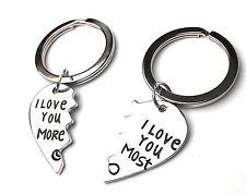 2 PIECE Broken Heart KEYRING - I LOVE YOU MORE - I LOVE YOU MOST - UK