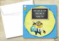 1 PERSONALISED DESPICABLE ME GOOD LUCK ON FIRST DAY AT SCHOOL CARD