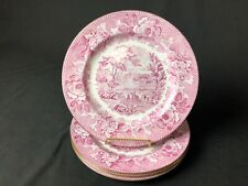 "Set of 4 Wedgwood Raspberry White Scenic Transfer10&1/4"" Dinner Plate Gold Edges"
