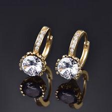 HUCHE 24k Yellow Gold Filled Hoop Style Diamond Crystal Women Wedding Earrings