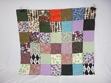 """Vtg Cotton Quilt Top Novelty Fabric Squares 36"""" x32"""" Mad Hatter Puppies Roosters"""