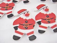 "6 Large Santa Claus Buttons 42mm (1 1/2"")  Wood Christmas Buttons Xmas Crafts"
