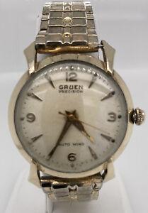 Vintage Watch Mens Gruen Precision Autowind Bumper Automatic Gold Plated Running