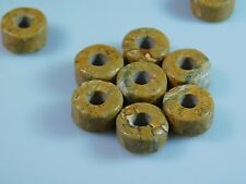 5 Pc Beautiful Natural Picture Jasper Wheel Shape European Big Hole Beads 8x14mm