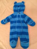 Ll Bean Fleece Snowsuit Bunting 3-6 Months Baby Blue Stripes Ears