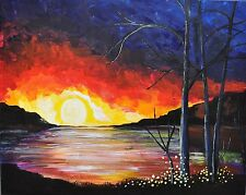 Beautiful sunset oroginal acrylic painting on canvas direct buy from artist