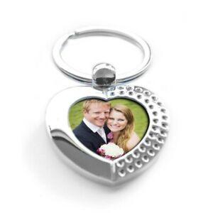 Personalised Photo Love Heart Metal Keyring