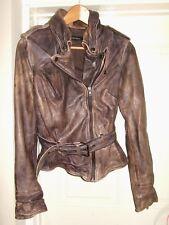 MUUBA Conker Brown Distress Features Wired Biker Leather Jacket Ladies Uk 8