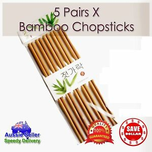 Up to 10 Pairs Classic Asian Korean Bamboo Chopsticks Wooden Wood Dinner Gift