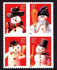 3676-79 Holiday Snowmen, Block of 4 (Ready to Mount) Mint VF NH
