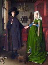 Huge Oil painting Portrait of Arnolfini and his Wife and pet do in bedroom