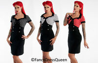 50s Vintage Rockabilly Polka Dot Retro Pencil Wiggle Dress UK Sizes 8/10/12/14