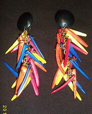 COLORATO tribale africano Etnico clip a ciondolo di legno ORECCHINI VINTAGE