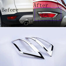 For 2013-2017 Ford Escape Kuga Chrome Rear Bumper Tail Fog lamp Light Trim Cover