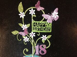 Birthday Cake Topper Glitter Butterfly sparkly card daisy flowers MUM